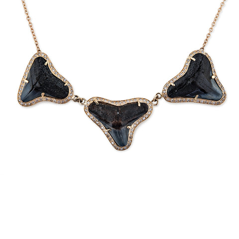 TRIPLE PAVE SHARK TOOTH NECKLACE