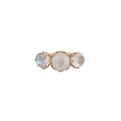 TRIPLE ROUND MOONSTONE RING