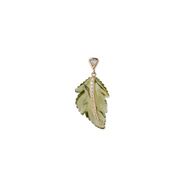PAVE GREEN TOURMALINE LEAF TRILLION STUD EARRING