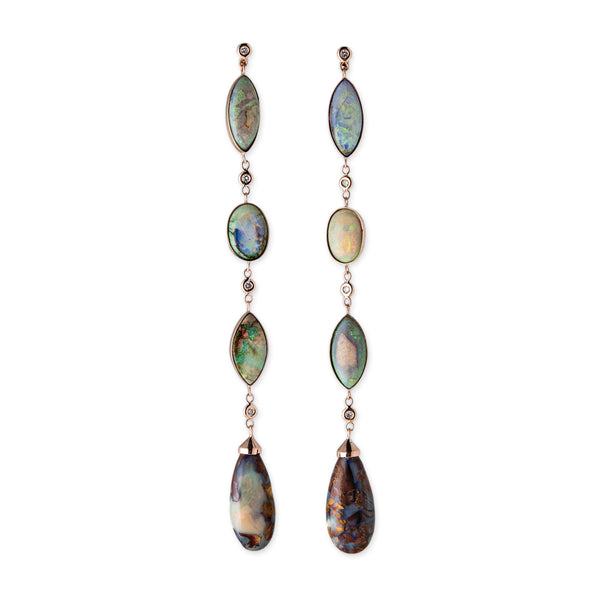 BOULDER OPAL + DIAMOND DROP EARRINGS