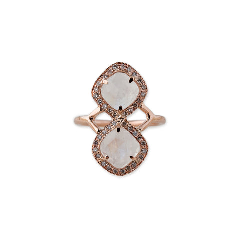 PAVE MOONSTONE TRINITY RING