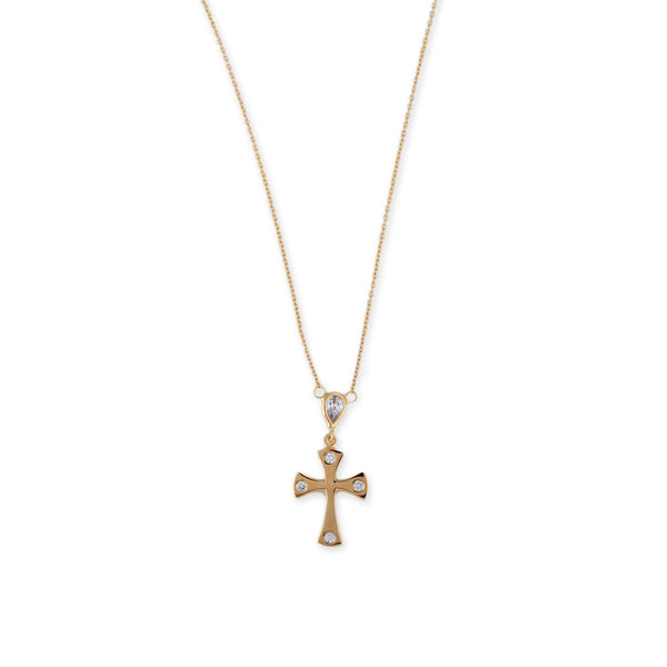 CZ TEARDROP GOTHIC CROSS NECKLACE