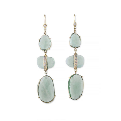 PAVE DIAMOND FREEFORM FLUORITE EARRINGS
