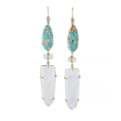 TURQUOISE + MOONSTONE TRIPLE STEP EARRINGS