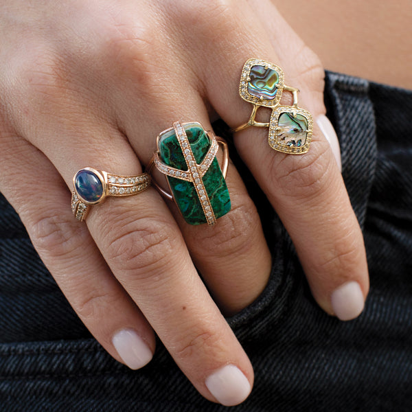 PAVE MALACHITE PEACE RING