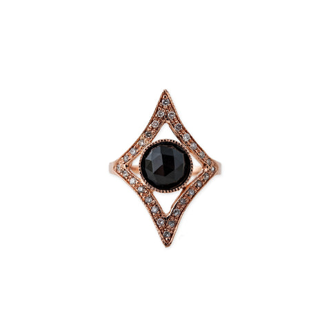PAVE ROUND ONYX OPEN KITE RING