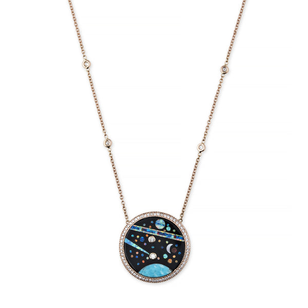 PAVE DIAMOND GALAXY INLAY NECKLACE