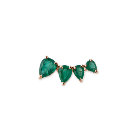 4 EMERALD TEARDROP EAR CUFF