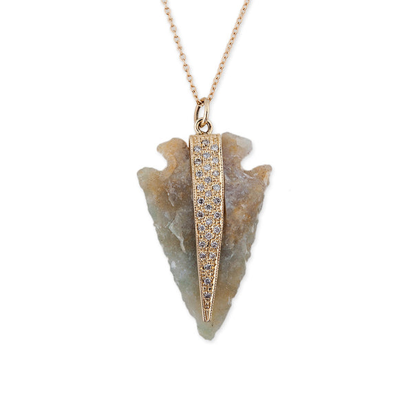 PAVE NATURAL AGATE ARROWHEAD NECKLACE