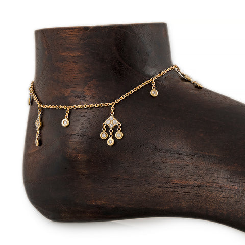 6 ROUND + 3 KITE DIAMOND SHAKER ANKLET
