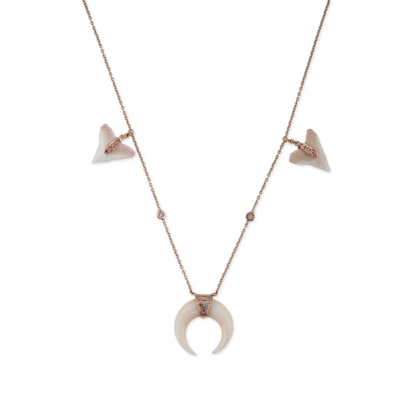 WHITE SHARK TOOTH + DOUBLE HORN NECKLACE