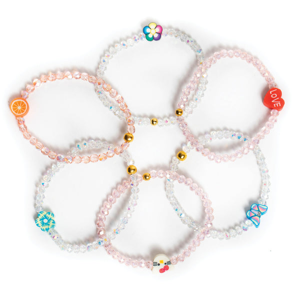 ZOE AICHE CLEAR BEADED CHARM BRACELET