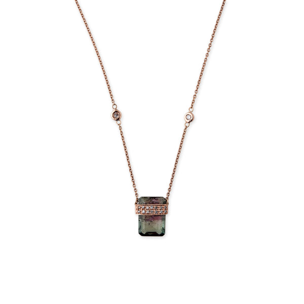 SMALL WATERMELON TOURMALINE BAGUETTE NECKLACE