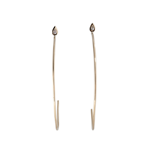 TEARDROP DIAMOND OPEN HOOPS