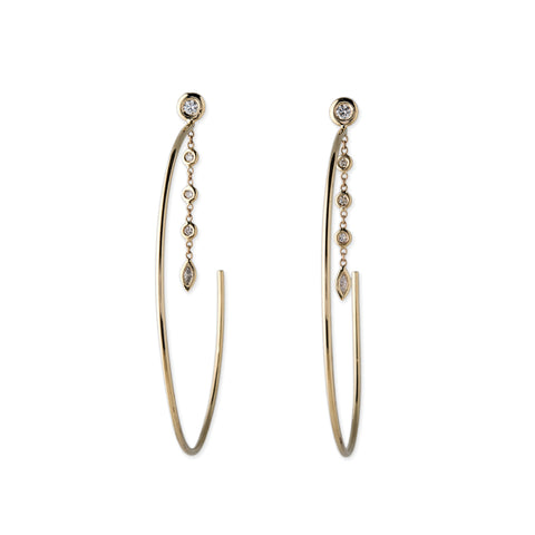 3 DROP MARQUISE DIAMOND HOOPS