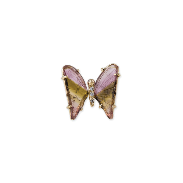 WATERMELON TOURMALINE BUTTERFLY STUD