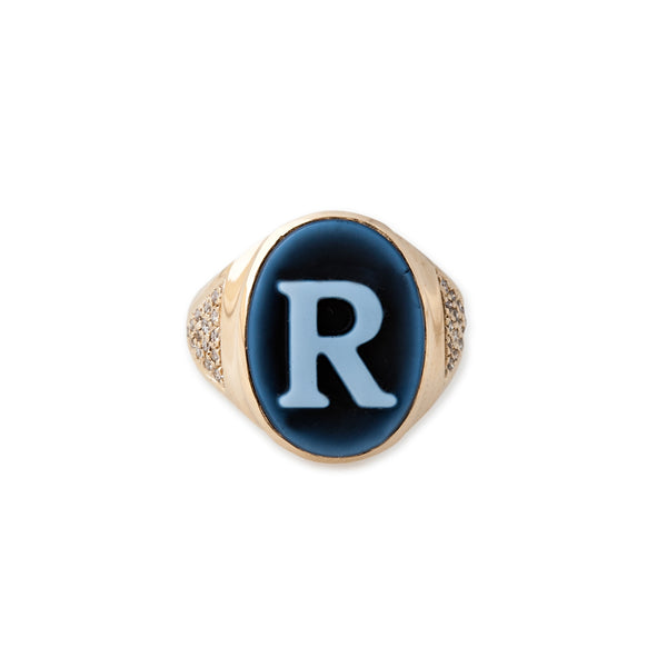 CARVED AGATE INITIAL CAMEO RING