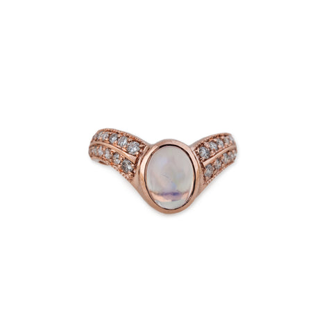 OPAL CENTER DOUBLE PAVE V RING