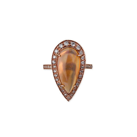 TEARDROP PEACH OPAL RING