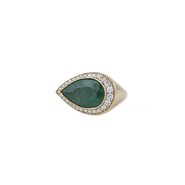GRADUATED TEARDROP EMERALD SIGNET RING