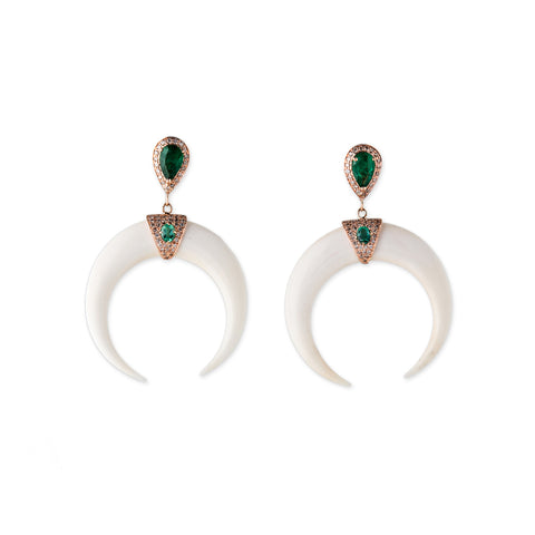 EMERALD TEARDROP DOUBLE BONE HORN EARRINGS
