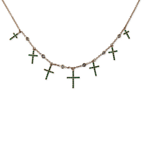 EMERALD CROSS SHAKER NECKLACE