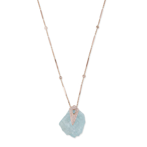 FREEFORM AQUAMARINE + DIAMOND CAP NECKLACE