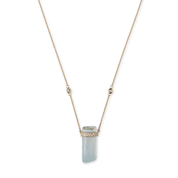 2 ROW PAVE AQUAMARINE CRYSTAL NECKLACE