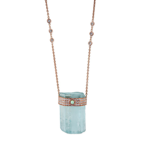 OPAL CENTER AQUAMARINE NECKLACE