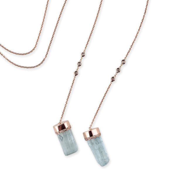 DIAMOND DOUBLE AQUAMARINE WRAP NECKLACE