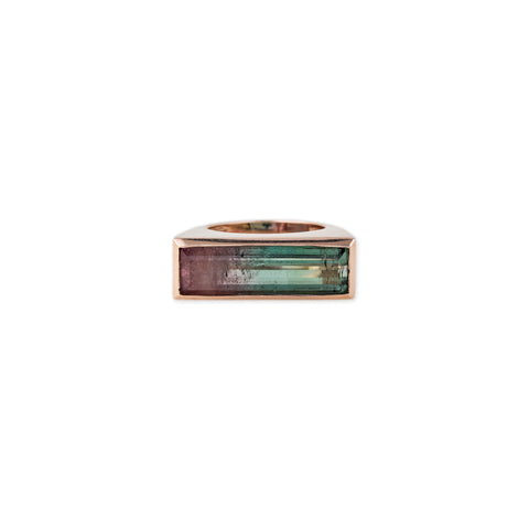 RECTANGLE WATERMELON TOURMALINE SIGNET RING