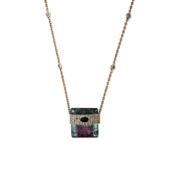 WATERMELON TOURMALINE BAGUETTE NECKLACE WITH BLACK OPAL