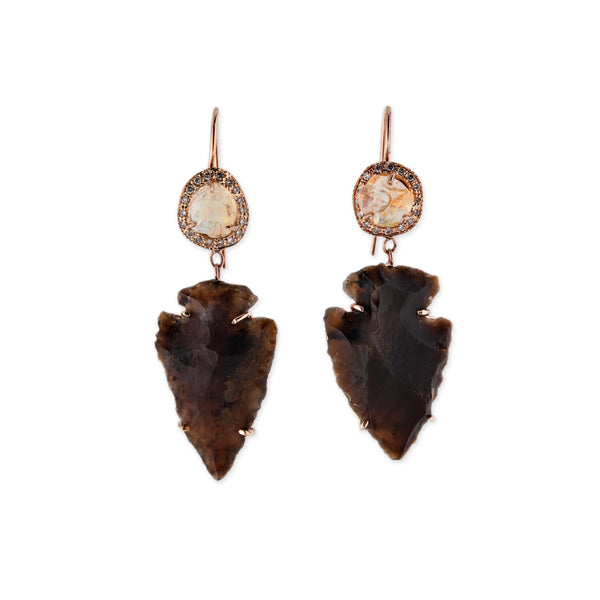 OPAL BROWN AGATE ARROWHEAD EARRINGS