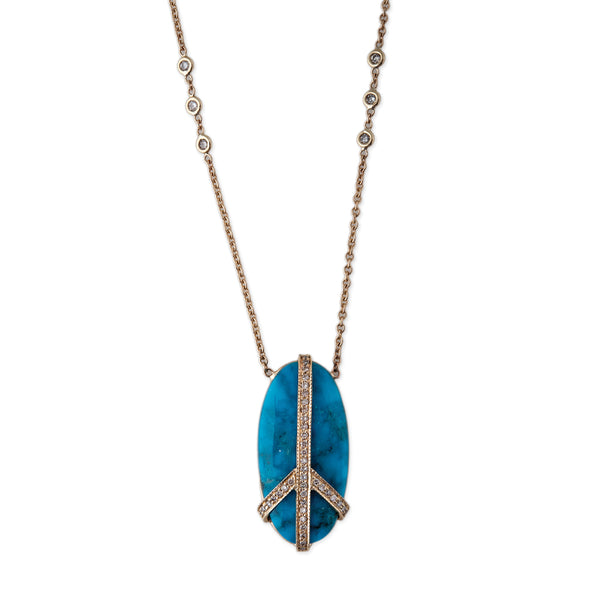 TURQUOISE PAVE PEACE NECKLACE