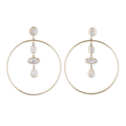 FREEFORM MOONSTONE HOOP EARRINGS