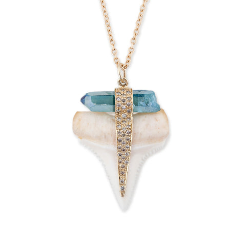 WHITE SHARK TOOTH & AQUAMARINE NECKLACE