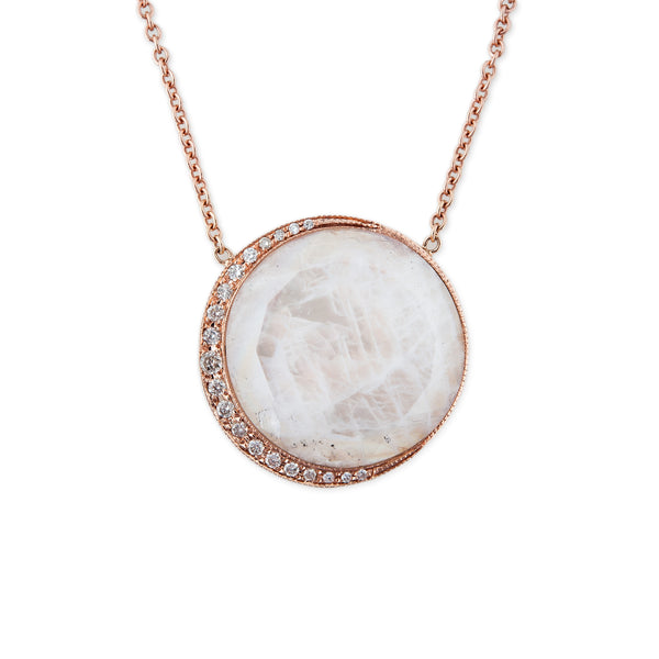ROUND MOONSTONE PAVE CRESCENT NECKLACE