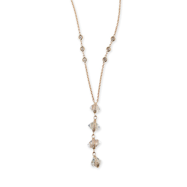 PAVE 4 QUARTZ HERKIMER Y NECKLACE