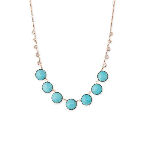 7 ROUND TURQUOISE + 10 DIAMOND BEZEL NECKLACE