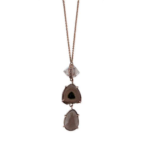 QUARTZ HERKIMER WATERMELON SMOKEY TOPAZ NECKLACE