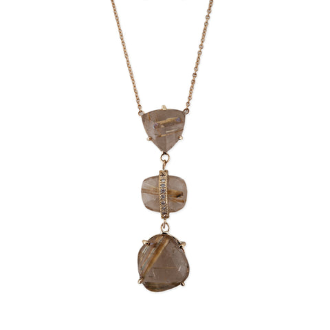 3 FREEFORM RUTILATED QUARTZ DROP NECKLACE