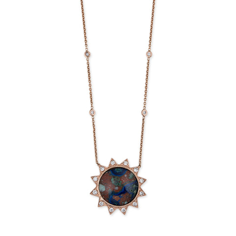 PAVE AZURITE MALACHITE SUN NECKLACE