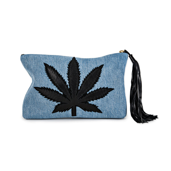 DENIM SWEET LEAF CLUTCH