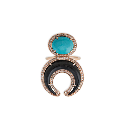 TURQUOISE + BLACK DOUBLE HORN RING