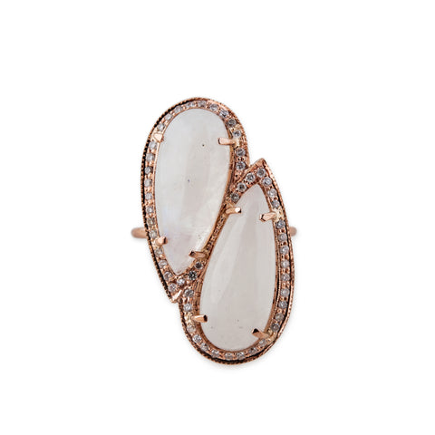 PAVE MOONSTONE TWIN TEARDROPS RING