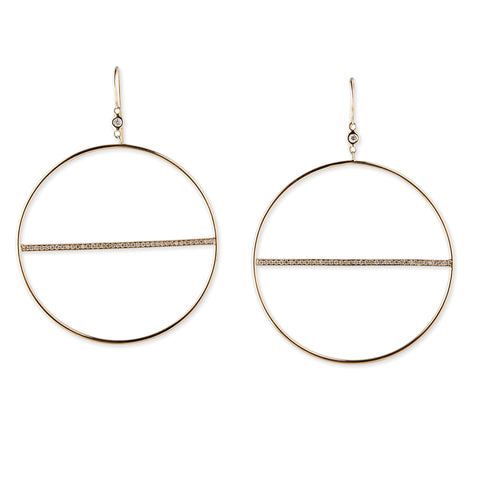 1 DIAMOND BEZEL BAR HOOP EARRINGS