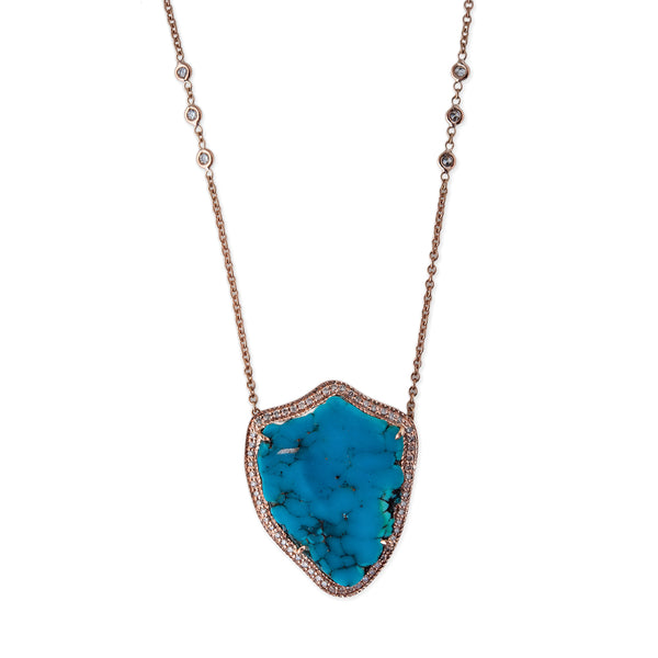 SHIELD FREEFORM TURQUOISE NECKLACE