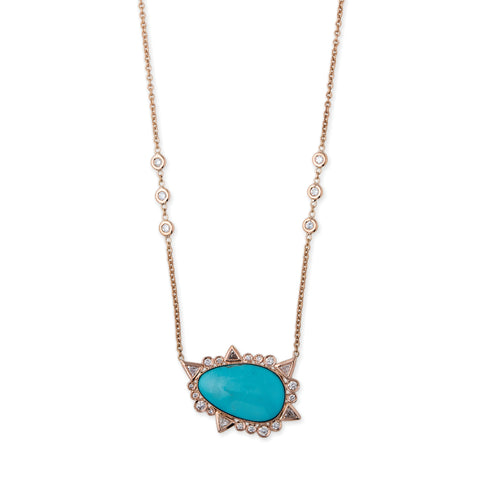 FREEFORM TURQUOISE + DIAMOND SHAPES BORDER NECKLACE