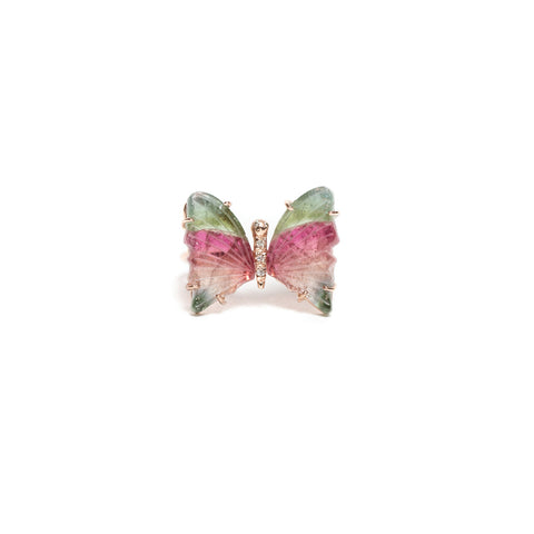 SMALL WATERMELON TOURMALINE BUTTERFLY RING