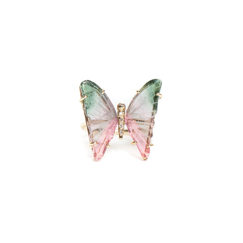 MEDIUM WATERMELON TOURMALINE BUTTERFLY RING